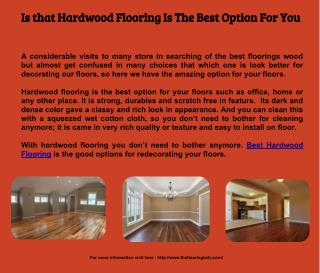 Is that Hardwood Flooring Is The Best Option For You