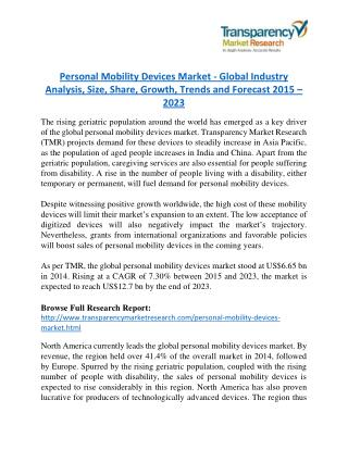 Personal Mobility Devices Market worth US$ 12.7 Billion by 2023