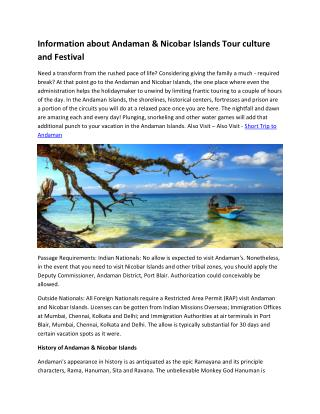 Information about Andaman & Nicobar Islands Tour culture and Festival