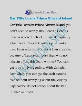 Car Title Loans Prince Edward Island