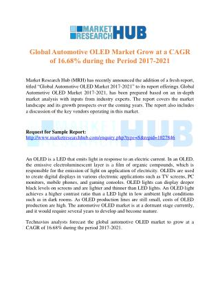 Global Automotive OLED Market Grow at a CAGR of 16.68% during the Period 2017-2021