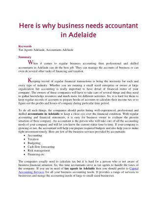 Here is why business needs accountant in Adelaide