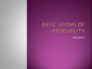 Basic Axioms of Probability