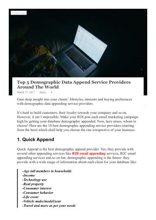 Top 5 Demographic Appending Services Providers