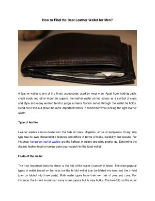 How to Find the Best Leather Wallet for Men?