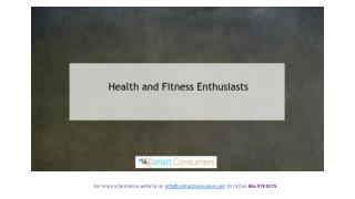 Health and fitness Enthusiasts !!!