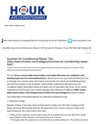 Summer Air Conditioning Repair Tips