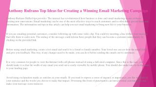 Anthony Rufrano Top Ideas for Creating a Winning Email Marketing Campaign