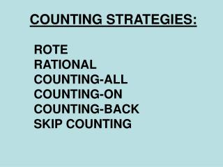 COUNTING STRATEGIES: