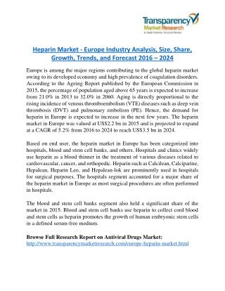 Heparin Market will rise to US$ 3.5 Billion by 2024