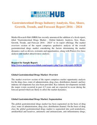 Gastrointestinal Drugs Industry Analysis and Forecast Report 2016