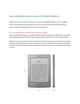 How to publish eBook on Amazon's Kindle Platform
