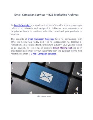 Email Campaign Services – B2B Marketing Archives