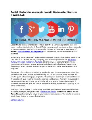 Social Media Management: Hawaii: Webmaster Services Hawaii, LLC