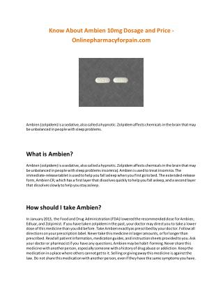 Know About Ambien 10mg Dosage and Price - Onlinepharmacyforpain.com