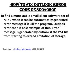 How to fix outlook error code 0x8004060C