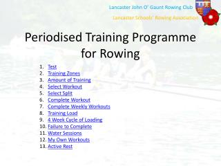 Periodised Training Programme for Rowing