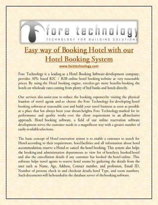 Easy way of Booking Hotel with our Hotel Booking System