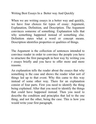 Writing Best Essays In a Better way And Quickly
