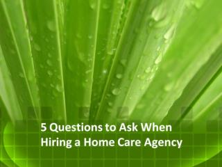 5 Things to Ask a Senior Home Care Company