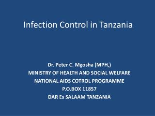 Infection Control in Tanzania