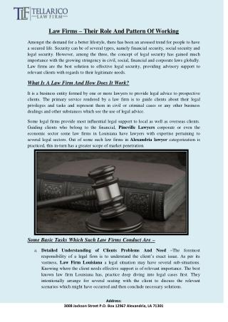 Law Firms – Their Role And Pattern Of Working