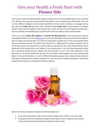 Give your Health a Fresh Start with Flower Oils