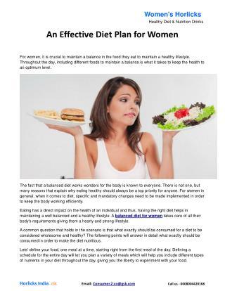 An effective diet plan for women