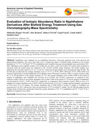 Evaluation of Isotopic Abundance Ratio in Naphthalene Derivatives After Biofield Energy Treatment