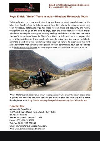 Royal Enfield in India- Himalaya Motorcycle Tours