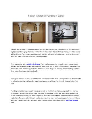 Kitchen Installation Plumbing in Sydney
