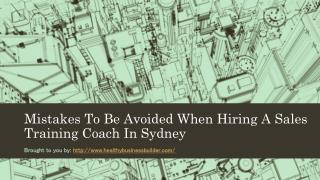 Mistakes To Be Avoided When Hiring A Sales Training Coach In Sydney