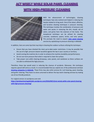Act Wisely while Solar Panel Cleaning With High-Pressure Cleaning