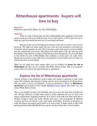 Rittenhouse apartments - buyers will love to buy