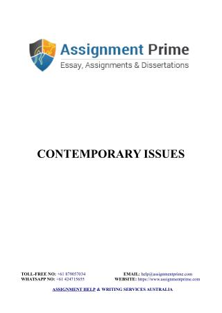 Sample Assignment on Contemporary Issues in Tour and Travel Industry