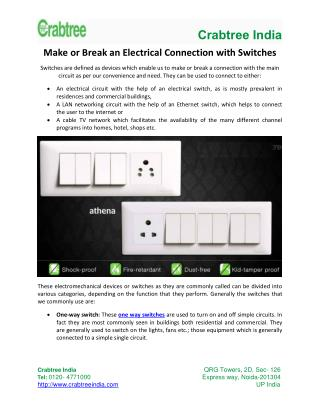 Make Or Break An Electrical Connection With Switches