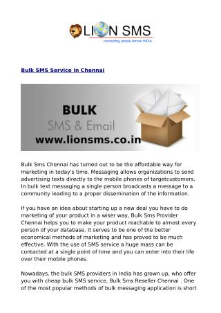 Bulk SMS Chennai, Marketing SMS Chennai, Transactional SMS Chennai