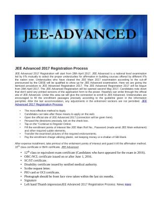 JEE Advanced Registration Process 2017 Here