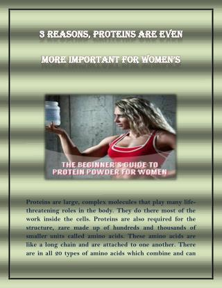 3 Reasons, Proteins are Even more Improtant For Women's