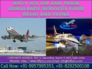 Get Emergency Air Ambulance in Delhi and Patna by Hifly ICU at Affordable Rate
