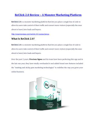ReClick 2.0 review - (FREE) Jaw-drop bonuses