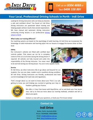 Your Local, Professional Driving Schools in Perth - Indi Drive