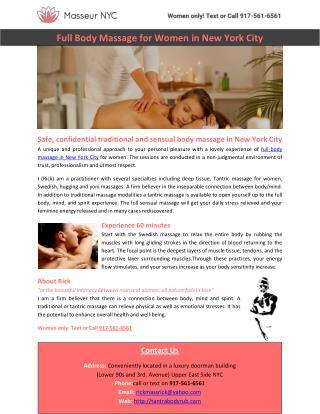 Full Body Massage for Women in New York City
