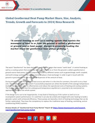 Geothermal Heat Pump Market Analysis, Size, Share and Forecast Report up to 2024 - Hexa Research