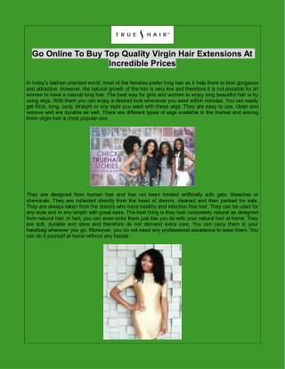 Go Online To Buy Top Quality Virgin Hair Extensions At Incredible Prices