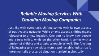 Reliable Moving Services With Canadian Moving Companies