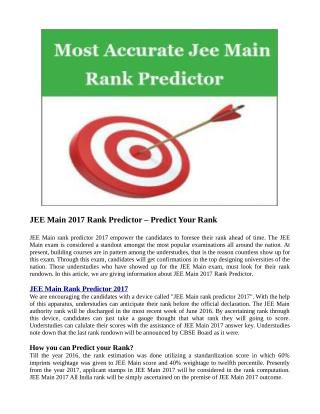 JEE Main 2017 Rank Predictor – Predict Your Rank