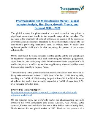 Pharmaceutical Hot Melt Extrusion Market will rise to US$ 36.4 Million by 2024