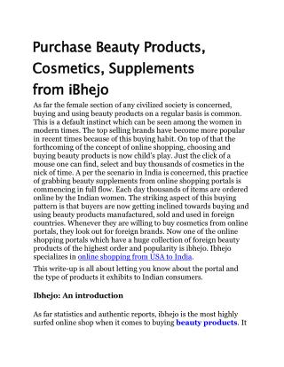 Purchase Beauty Products, Cosmetics, Supplements from iBhejo