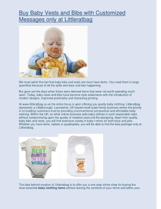 Buy baby vests and bibs with customized messages only at LittleRatBag